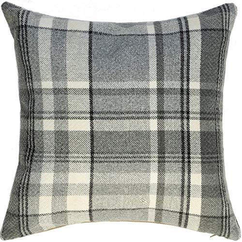 McAlister Textiles Heritage   Sofakissen mit Füllung in Anthrazit Grau   43 x 43 cm   gewobenes Tartan-Muster kariert   Deko gefülltes Kissen Sofa, Bett, Couch pflegeleichtes Wolle-Gefühl