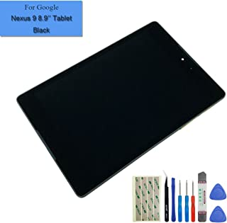 for Google Nexus 9 8.9-Inch Tablet Replacement Touch Screen Full LCD Front Panel Assembly + Black Frame + Adhesive + Tools