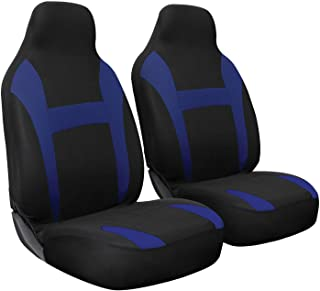 OxGord Car Seat Cover - Poly Cloth Two Toned with Front Low Bucket Seat - Universal Fit for Cars, Trucks, SUVs, Vans - 2 pc Set
