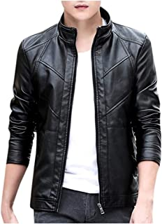 LEKODE Men Outwear Fashion Solid Long Sleeve Leather Tops