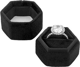 Koyal Wholesale Velvet Ring Box, Hexagon Vintage Wedding Ceremony Ring Box with Detachable Lid, 2 Piece Engagement Ring Box Holder, Modern Proposal Idea (Black)