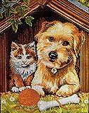 BaiHogi Números de Costura Bordado de tapicería Bordado Set Mejor Amigo Perro y Gato 20x25cm Conjunto de Bordados de la Costura de Media Cruz. Incluyendo algodón múltiple