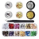12 Pcs Paillettes Ongles Feuilles d'or et argent , Ebanku Nail Art Glitter Flocons Holographiques pour Ongles Décor