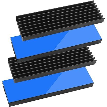 Tuloka 4個ヒートシンク 導熱接着シート4pcs付き 熱暴走対策 冷却ラジエーターフィンCPU ICチップ 回路基板 LEDアンプに適用 アルミニウム 黒 70mm×22mm×6mm