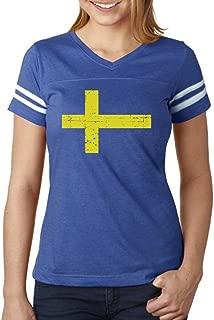 TeeStars - Vintage Sweden Flag Retro Style Swedish Women Football Jersey T-Shirt
