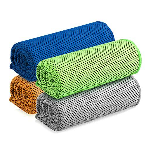ANVASK 冷却タオル 4枚セット UVカット 熱中症対策 アウトドア スポーツタオル 冷感 速乾 紫外線対策 日焼け防止 ネックガード 抗菌防臭 フェイスマスク 夏用 2021年新品