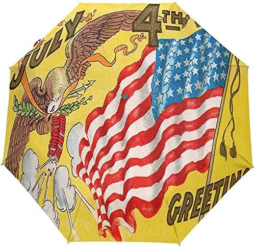 Bandera Americana de EE. UU. Patriótico Eagle Auto Paraguas Retro Día de la Independencia 4 de Julio Paraguas A Prueba de Viento