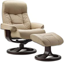 Fjords Leather Norwegian Ergonomic Scandinavian Lounge Reclining Chair 215 Small Muldal Recliner Furniture Nordic Line Genuine Cappuccino Leather Walnut Wood