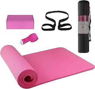 Lixada 3PCS Yoga Equipment Set Yoga Mat Yoga Blocks Stretching Strap Yoga Beginner Exercise Set with Mat Storage Pouch and...