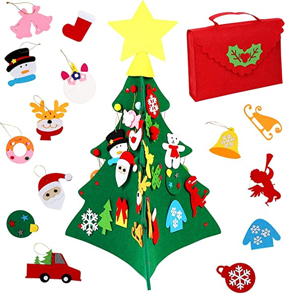 OurWarm 3D DIY Felt Christmas Tree Set With 30pcs Xmas Ornaments For Toddlers Kids Xmas Gifts New Year Home Door Wall Hanging Decor