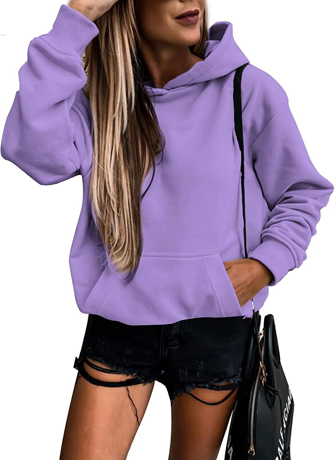 SHEWIN Women's Fashion Hoodies Solid Color Pullover Tops Long Sleeve Hooded Sweatshirts with Pocket(S-XXL)