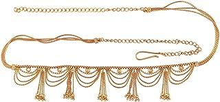 ACCESSHER Antique Traditional Kundan Tassle Kamarband Waist Belt for Women (Gold)
