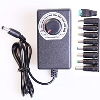 Adjustable AC to DC Power Supply Adapter Converter,AC 100-240V to DC 3-12V 2A for Motor Speed Controller with 8 Interchangeable Tips