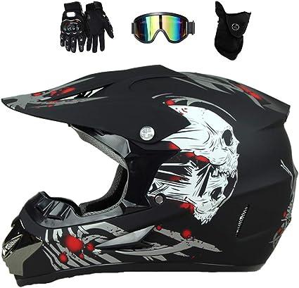 Mrdear Monster Motocross Helm Herren Cross Helm Kinder Motorrad Crosshelm Schwarz Mit Brille 4 Stück Fullface Mtb Motorradhelm Für Off Road Downhill Enduro Atv Sport Freizeit