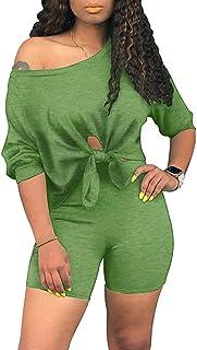 Womens Knot 2 Piece Sports Outfit Knot Tie Up Tracksuit Shirt Shorts Jogger Sportswear Biker Set Activewear