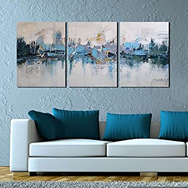 ARTLAND Modern Framed Abstract Oil Painting  Blue Villages  3-Piece Gallery-Wrapped Wall Art on Canvas Ready to Hang for Living Room for Wall Decor Home Decoration 16x36inches (Size:12x16inchesx3)