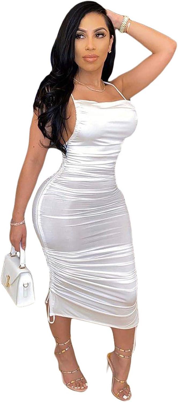 OLUOLIN Women's Sexy Ruched Side Asymmetrical Sleeveless Drawstring Bodycon Midi Dress