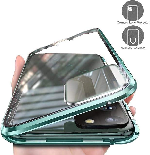 Carcasa para Samsung Galaxy S20 Plus Funda 360 Grados Protección Integrada Protector de Lente de Cámara Anti-Rasguño Transparente Vidrio Templado Case Metal Bumper con Adsorción Magnética CoverVerde