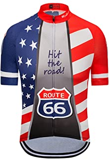 Weimostar Men's USA Cycling Jersey Short Sleeve Biking Shirts Breathable with Pokects