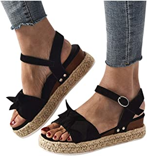 MITCOWBOYS Sandals with Bows for Women Open Toe Leopard Print Ankle Strap Buckle Platform Wedges Espadrilles Black