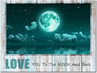 Visual Art Decor Rustic Canvas Wall Art Teal Moon Over Peaceful Sea with Love Quote Love to The Moon and Back Giclee Canvas Prints Framed Gallery Wall Art for Living Room Bedroom Decoration