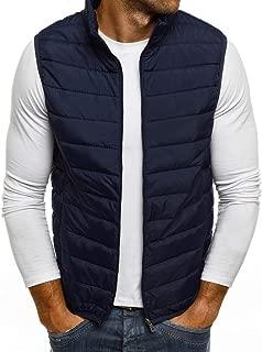 Men's Thick Warm Down Cotton Vest Coat Autumn Winter Warm Zipper Pure Color Waistcoat Top Beautyfine
