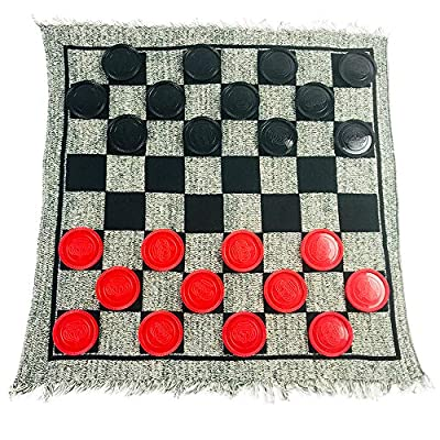 Yuanhe 3 in 1 Giant Checkers Set and Tic Tac Toe Game with Reversible Rug - Indoor and Outdoor Board Game for Family by YH Poker