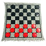 "Prefect game includs Checkers, Tic Tac Toe, and SUPER Tic Tac Toe, 3 in 1 game set Soft, woven rug measures 26""*26"", this 2 sided rug mat features a checker board and tic tac toe 24 jumbo checkers are in dia3"", 12 pieces red and 12 pieces black, with..."