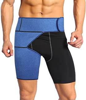 Hip Brace Groin Support for Sciatica Pain Relief, Compression Hip Wrap Protector Hamstring Strap for Joints, Arthritis, Pulled Muscles, Surgery Recover for Women and Men(Navy Blue)