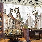 MuralXW Handgemalte Europäische Stadt Große Wandbilder Café Restaurant Schlafzimmer Backsteinmauer Dekoration Kunstwand Fototapete-200x140cm