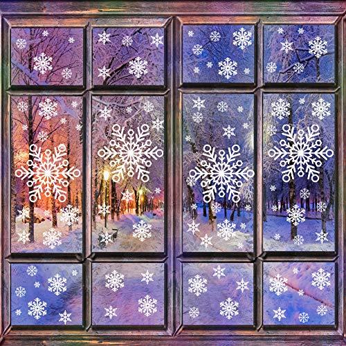 HAIGOU Fensterbilder Weihnachten,Weihnachtsdeko Fenster, Fenstersticker Fensteraufkleber PVC Fensterdeko Selbstklebend, für Türen Schaufenster Vitrinen Glasfronten Deko (Schneeflocke)