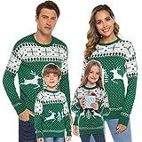 Aibrou Jersey Suéter de Navidad Familia para Mujer Hombre y Niños,Jerséis de Punto...