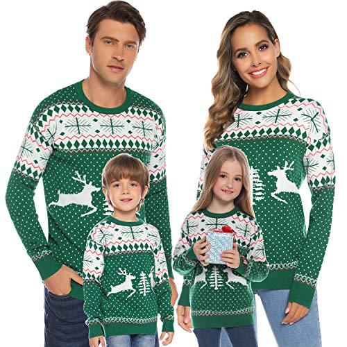 Aibrou Jersey Suéter de Navidad Familia para Mujer Hombre y Niños,Jerséis de...