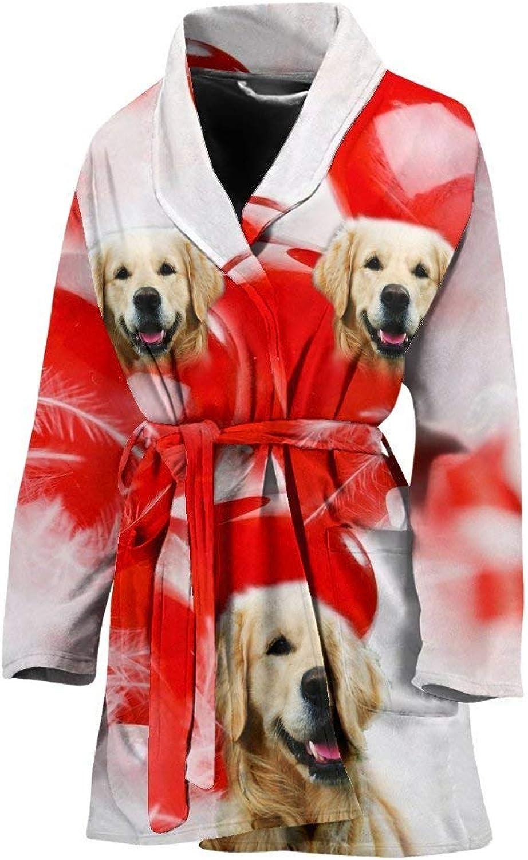 Deruj golden Retriever Print Women's Bath Robe