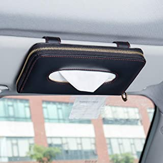 Forala Leather Car Visor Tissue Holder Zipper Tissue Box Paper Towel Cover Case with One Tissue Refill for Car & Truck Dec...