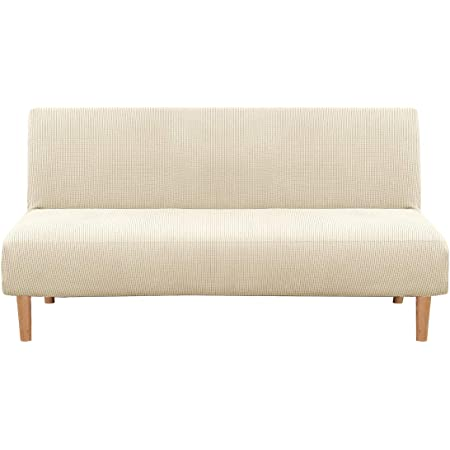 Amazon Com Easy Going Stretch Sofa Slipcover Armless Sofa Cover Furniture Protector Without Armrests Slipcover Soft With Elastic Bottom For Kids Spandex Jacquard Fabric Small Checks Futon Beige Kitchen Dining