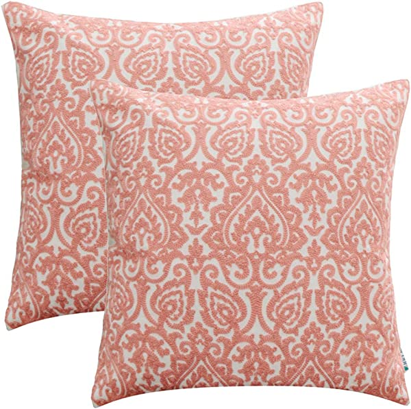 HWY 50 Embroidered Decorative Throw Pillows Covers Set Cushion Cases For Couch Sofa Living Room Coral Pink Creative Abstract 18 X 18 Inch Pack Of 2