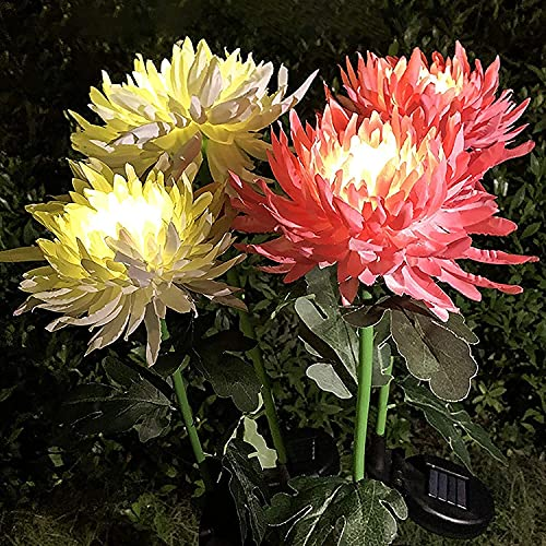 XinCanKun 4 Pack Outdoor Solar Lights, Solar Garden Lights Bigger Chrysanthemum Flowers, Waterproof Outdoor Lights - Bigger Solar Panel for Garden Patio Yard Pathway (1 White + 1 Yellow + 1 Pink)