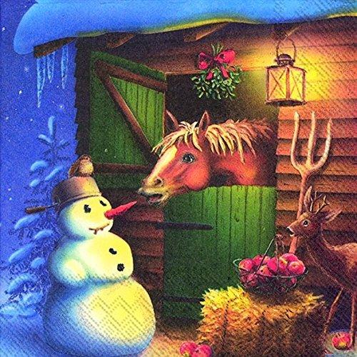 CARROT ROBBER Paard en sneeuwpop Kerstmis Luncheon Papier Tafelservetten 20 in een verpakking 33cm vierkant