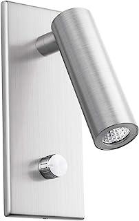 Meanyee Lámpara de lectura de pared Cabecera luz de cabecera con interruptor giratorio/regulable/brazo ajustable/incrustado/níquel cepillado / 3000K Osram LED/MY-WN225B