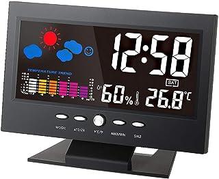 Yin Yin, Medidor - ° C / ° F Multifuncional Interior Colorido LCD Temperatura digital Humedad Medidor Estación meteorológi...