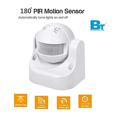 Blackt Electrotech PIR Sensor with Light and Energy Saving Motion Detector Wall Mounted Switch (White)