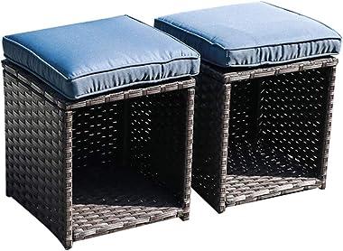 JOIVI Outdoor Ottoman, 2 Piece All Weather Wicker Rattan Patio Ottoman Set with Cushion, Storage Stool Steel Frame, Navy