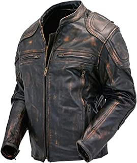 Cafe Racer Quilted Distressed Vintage Motorcycle Leather Jacket for Sale On Amazon