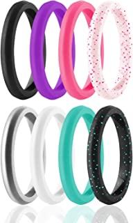 ROQ Silicone Wedding Ring For Women, Set of 8 Thin Stackable Silicone Rubber Wedding Bands Point- Turquoise, Pink, Purple,...