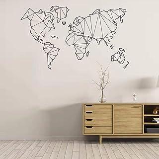 CCYUANG Autocollants Muraux Géométrique Carte du Monde Wall Sticker Vinyle Mural Amovible Autocollant Décoration de La Mai...