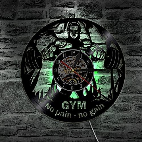 Luz 7 Colores Reloj de Pared para Hombre de Levantamiento de Pesas Sin Dolor Sin Ganancia Reloj de Pared con Registro de Vinilo Gym Fitness Workout Decor Night Gift for Fitness Man