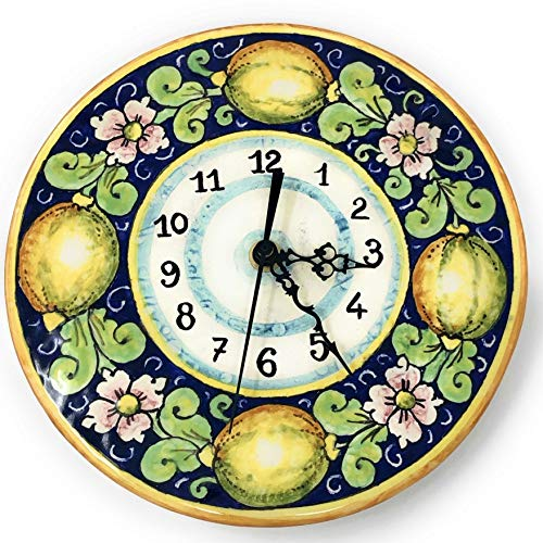 CERAMICHE D'ARTE PARRINI - Italian Ceramic Wall Clock Small, Decorated Lemons Hand Painted Made in ITALY Tuscan Art Pottery