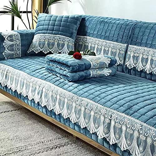YHWW Sofabezüge,Plüsch Sofabezug Schutzbezug rutschfeste Haustier Sofabezug Samt Sofabezug Wohnzimmer Sofa Handtuch L-förmige Sofa Spitzenbesatz, 110x110CM