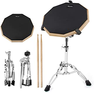 Practice Drum Pad Set 12 Inch Exercise Pads Mat for Adult Kids with Snare Drums Stand Double Sided Drumsticks
